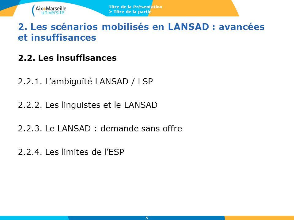 Titre de la Présentation > Titre de la partie 5 2. Les scénarios mobilisés en LANSAD : avancées et insuffisances 2.2. Les insuffisances 2.2.1. L'ambig