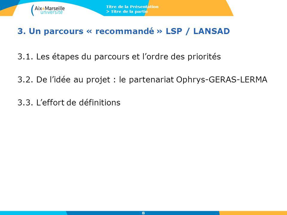 Titre de la Présentation > Titre de la partie 8 3. Un parcours « recommandé » LSP / LANSAD 3.1. Les étapes du parcours et l'ordre des priorités 3.2. D