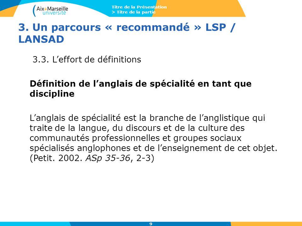 Titre de la Présentation > Titre de la partie 9 3. Un parcours « recommandé » LSP / LANSAD 3.3. L'effort de définitions Définition de l'anglais de spé