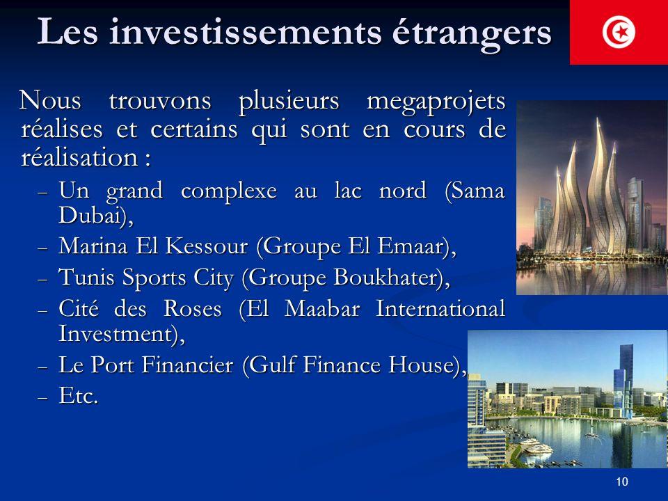 10 Les investissements étrangers Nous trouvons plusieurs megaprojets réalises et certains qui sont en cours de réalisation : Nous trouvons plusieurs m