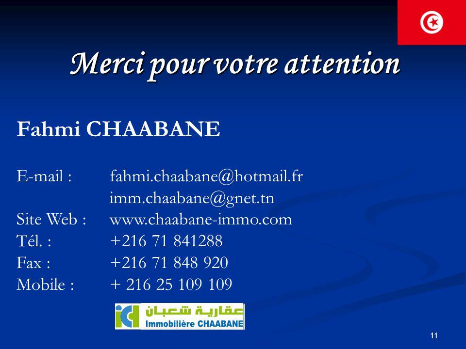 11 Merci pour votre attention Fahmi CHAABANE E-mail : fahmi.chaabane@hotmail.fr imm.chaabane@gnet.tn Site Web : www.chaabane-immo.com Tél. : +216 71 8
