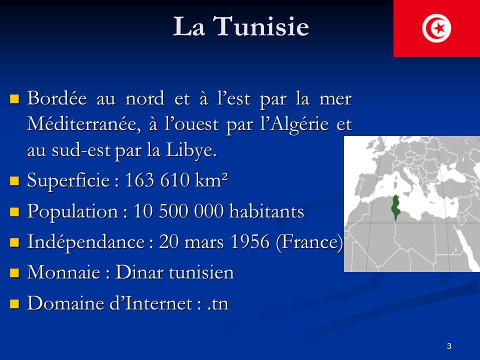 3 La Tunisie Bordée au nord et à l'est par la mer Méditerranée, à l'ouest par l'Algérie et au sud-est par la Libye. Bordée au nord et à l'est par la m