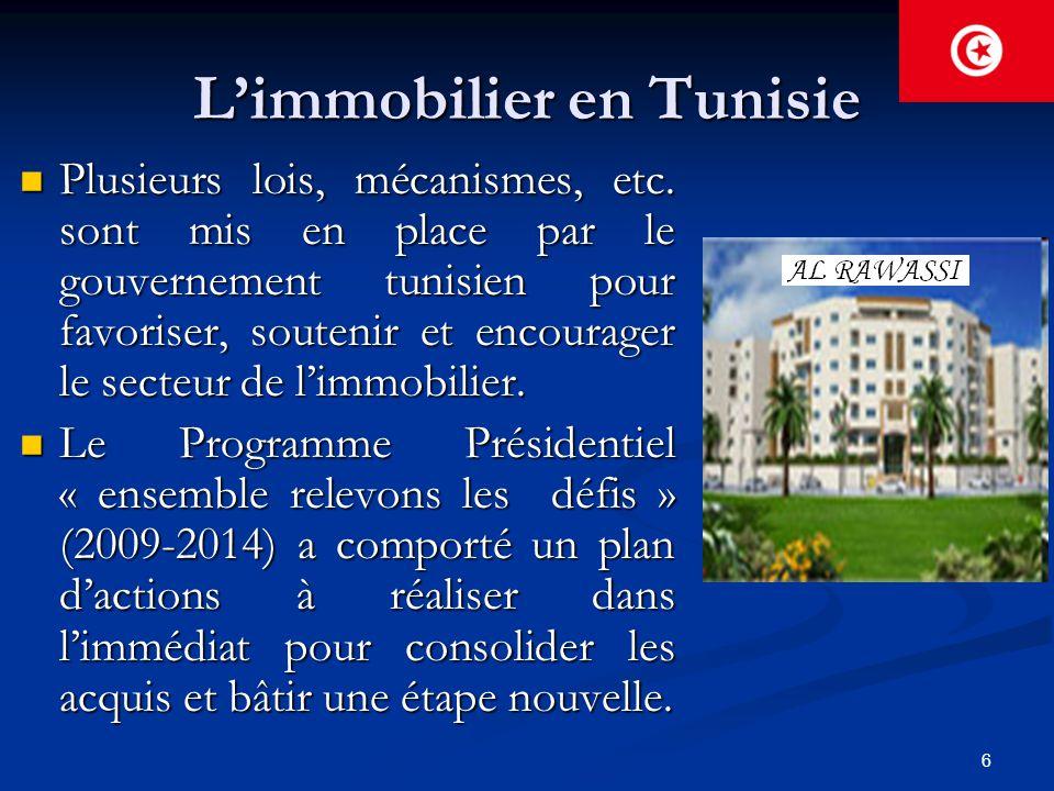 6 L'immobilier en Tunisie Plusieurs lois, mécanismes, etc. sont mis en place par le gouvernement tunisien pour favoriser, soutenir et encourager le se