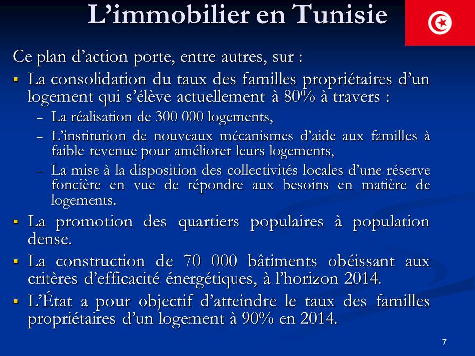 7 L'immobilier en Tunisie Ce plan d'action porte, entre autres, sur :  La consolidation du taux des familles propriétaires d'un logement qui s'élève