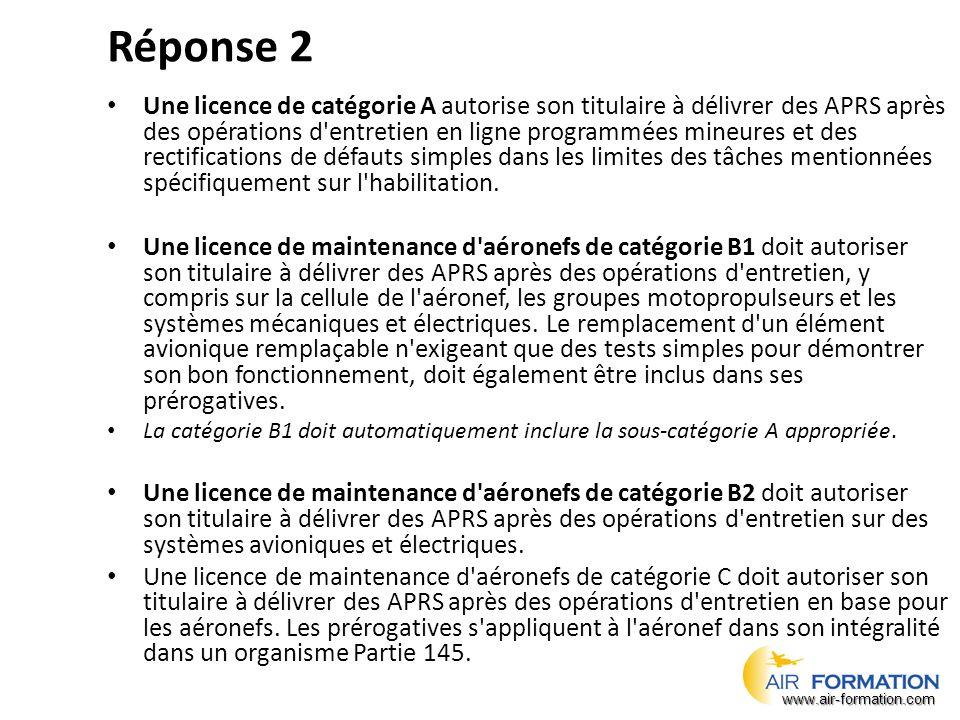 Réponse 2 Une licence de catégorie A autorise son titulaire à délivrer des APRS après des opérations d entretien en ligne programmées mineures et des rectifications de défauts simples dans les limites des tâches mentionnées spécifiquement sur l habilitation.