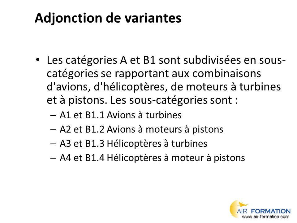 Adjonction de variantes Les catégories A et B1 sont subdivisées en sous- catégories se rapportant aux combinaisons d avions, d hélicoptères, de moteurs à turbines et à pistons.
