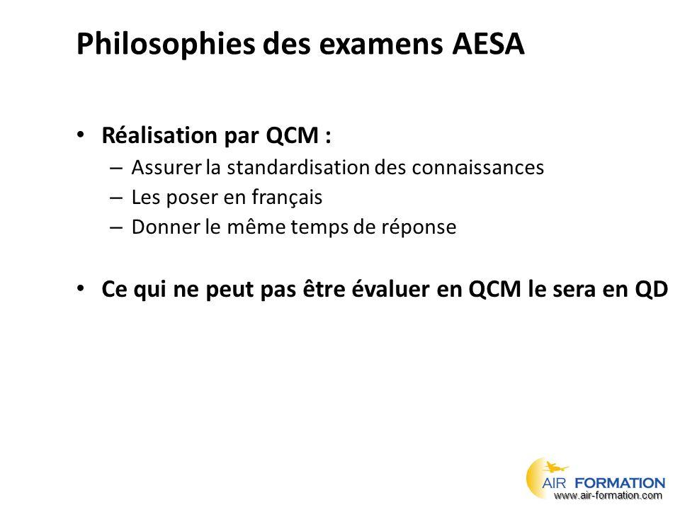 Philosophies des examens AESA Réalisation par QCM : – Assurer la standardisation des connaissances – Les poser en français – Donner le même temps de réponse Ce qui ne peut pas être évaluer en QCM le sera en QD www.air-formation.com