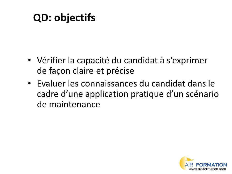 QD: objectifs Vérifier la capacité du candidat à s'exprimer de façon claire et précise Evaluer les connaissances du candidat dans le cadre d'une application pratique d'un scénario de maintenance www.air-formation.com