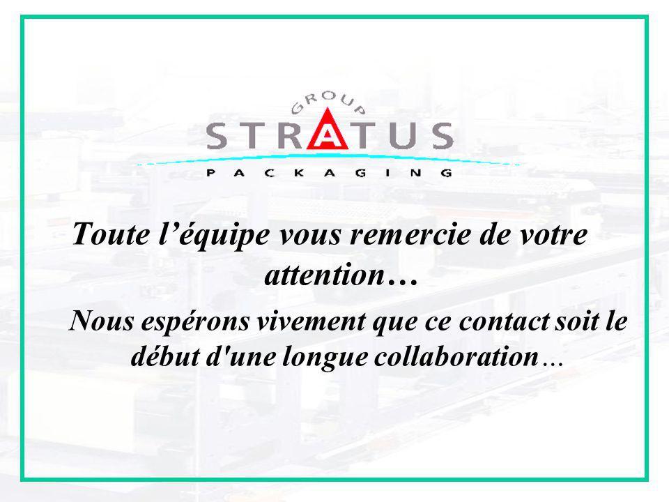 Présentation Partenariat Stratus Packaging 14/01/09 Toute l'équipe vous remercie de votre attention… Nous espérons vivement que ce contact soit le début d une longue collaboration…