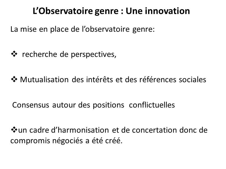 L'Observatoire genre : Une innovation La mise en place de l'observatoire genre:  recherche de perspectives,  Mutualisation des intérêts et des référ