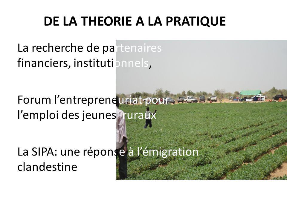DE LA THEORIE A LA PRATIQUE La recherche de partenaires financiers, institutionnels, Forum l'entrepreneuriat pour l'emploi des jeunes ruraux La SIPA: une réponse à l'émigration clandestine