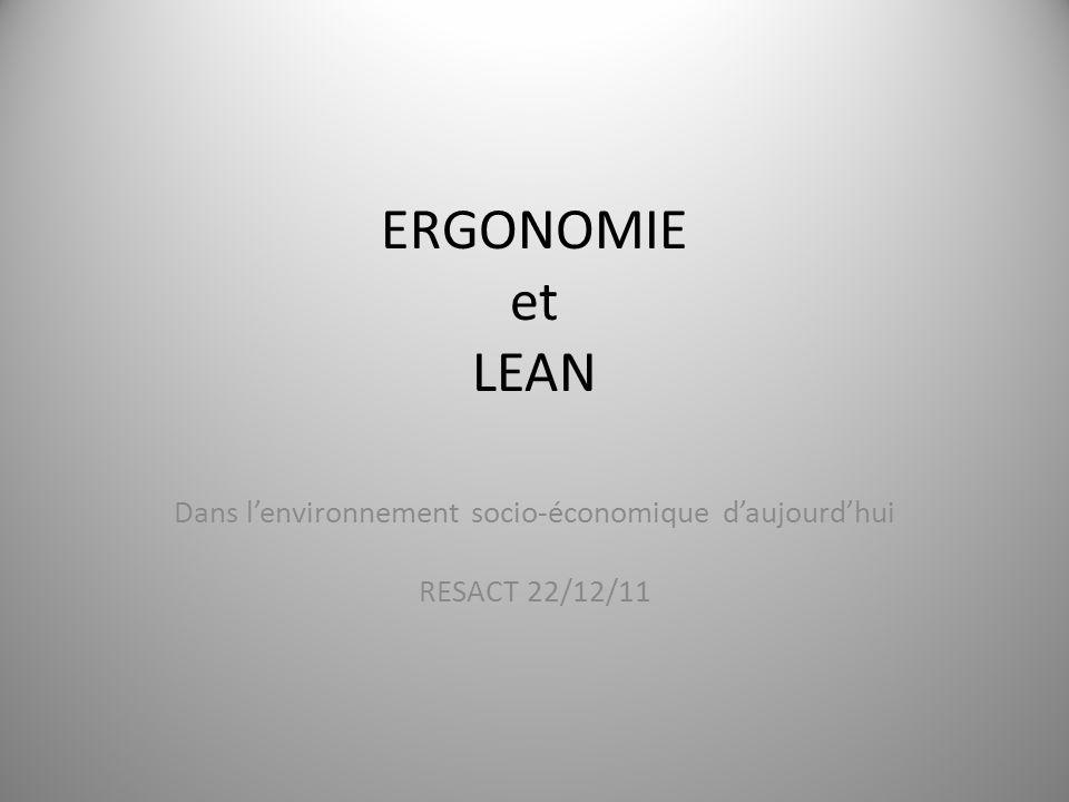 ERGONOMIE et LEAN Dans l'environnement socio-économique d'aujourd'hui RESACT 22/12/11 1