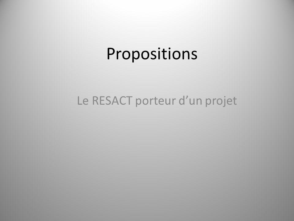 Propositions Le RESACT porteur d'un projet 13