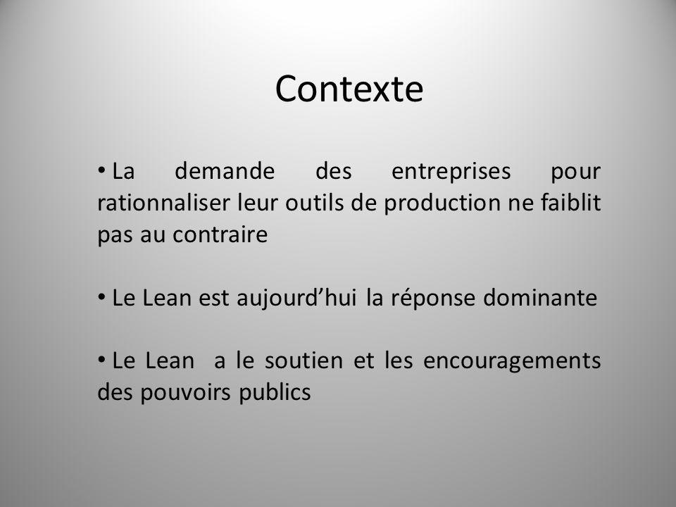Contexte 2 La demande des entreprises pour rationnaliser leur outils de production ne faiblit pas au contraire Le Lean est aujourd'hui la réponse domi