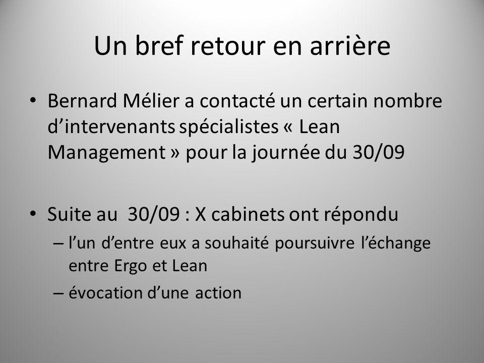 Un bref retour en arrière Bernard Mélier a contacté un certain nombre d'intervenants spécialistes « Lean Management » pour la journée du 30/09 Suite a