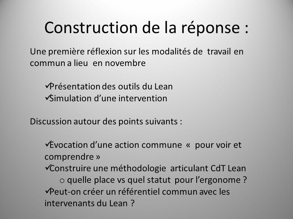 Construction de la réponse : 5 Une première réflexion sur les modalités de travail en commun a lieu en novembre Présentation des outils du Lean Simula