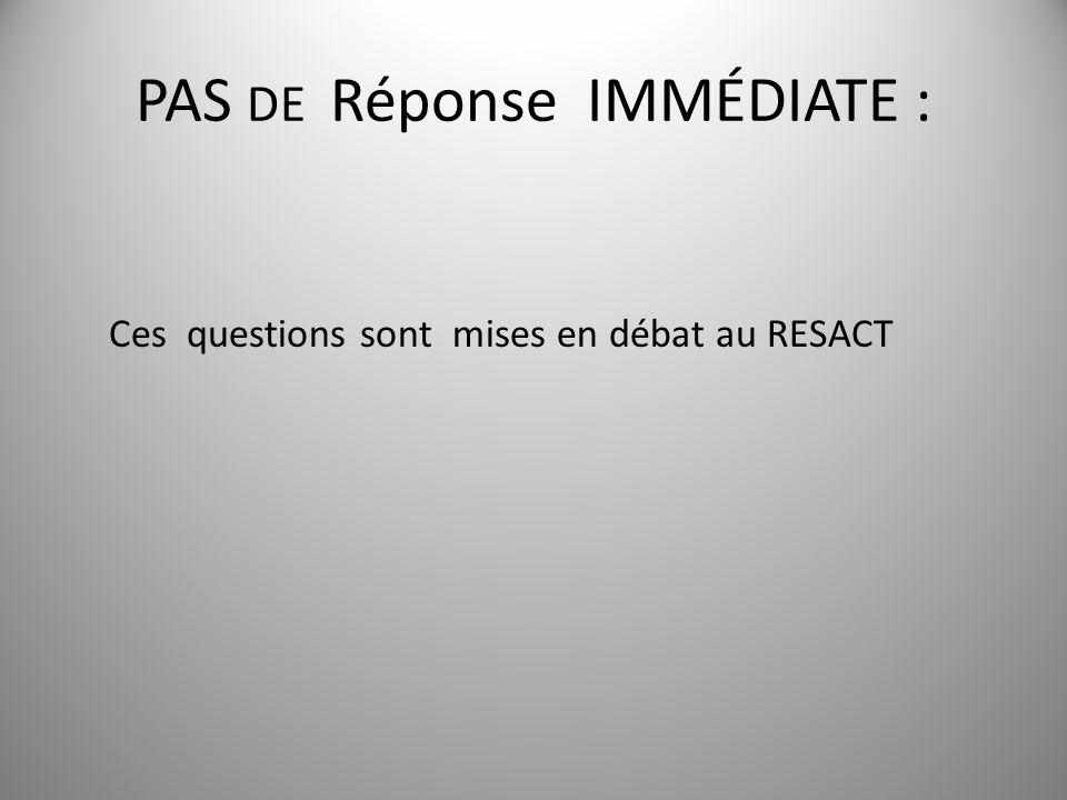 PAS DE Réponse IMMÉDIATE : 6 Ces questions sont mises en débat au RESACT