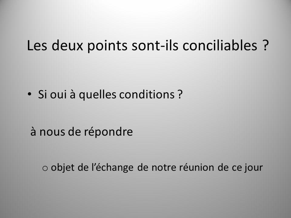 Les deux points sont-ils conciliables ? Si oui à quelles conditions ? à nous de répondre o objet de l'échange de notre réunion de ce jour 7