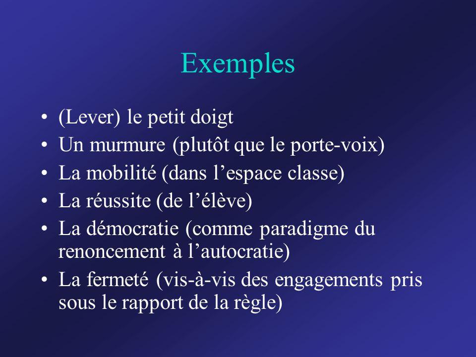 Exemples (Lever) le petit doigt Un murmure (plutôt que le porte-voix) La mobilité (dans l'espace classe) La réussite (de l'élève) La démocratie (comme paradigme du renoncement à l'autocratie) La fermeté (vis-à-vis des engagements pris sous le rapport de la règle)