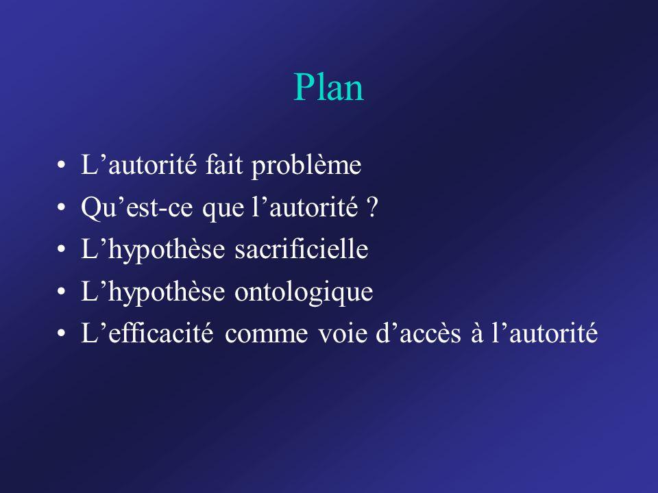 Plan L'autorité fait problème Qu'est-ce que l'autorité .