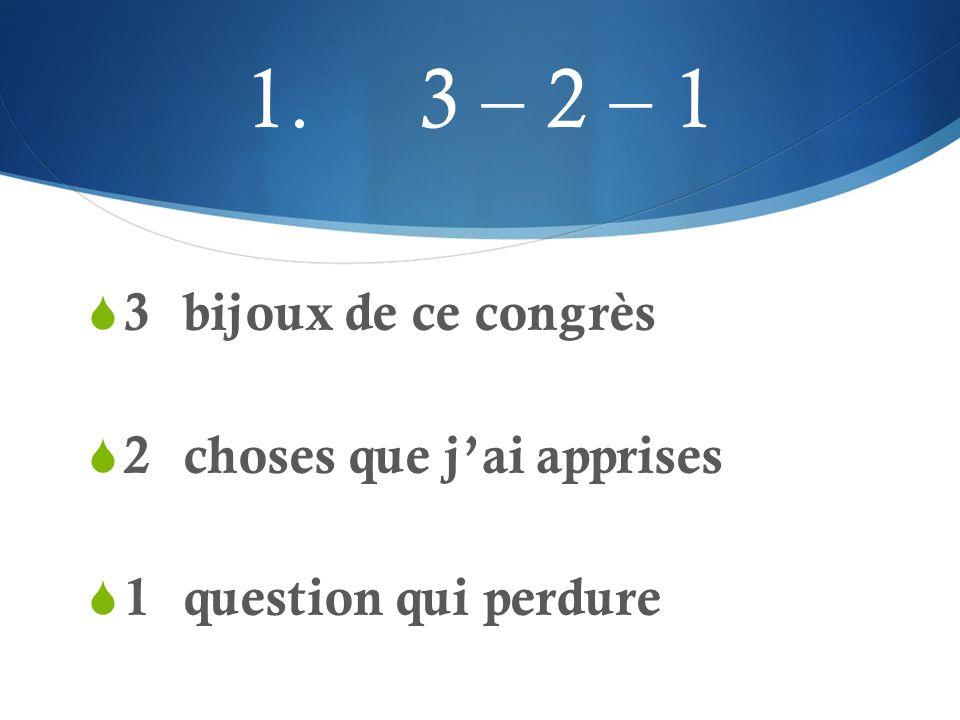 3 – 2 – 1 Mode d'emploi  Se prête bien à a.la recherche des connaissances préalables b.la mesure de la compréhension de l'élève c.la synthèse d'une leçon ou d'une partie d'une leçon.
