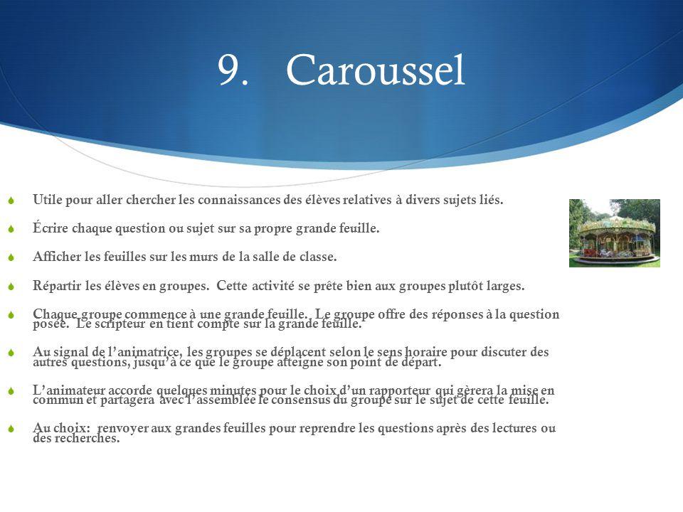 9.Caroussel  Utile pour aller chercher les connaissances des élèves relatives à divers sujets liés.  Écrire chaque question ou sujet sur sa propre g