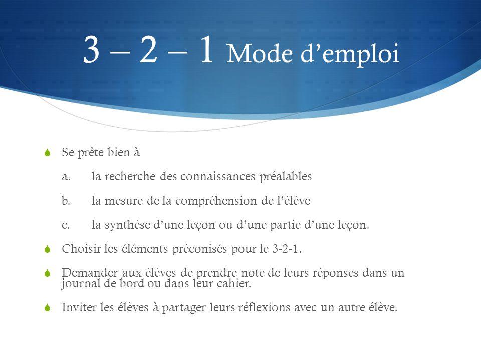 3 – 2 – 1 Mode d'emploi  Se prête bien à a.la recherche des connaissances préalables b.la mesure de la compréhension de l'élève c.la synthèse d'une l