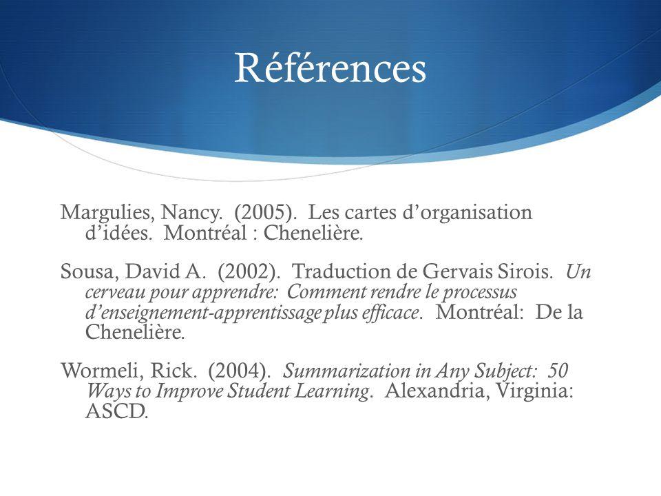 Références Margulies, Nancy. (2005). Les cartes d'organisation d'idées. Montréal : Chenelière. Sousa, David A. (2002). Traduction de Gervais Sirois. U