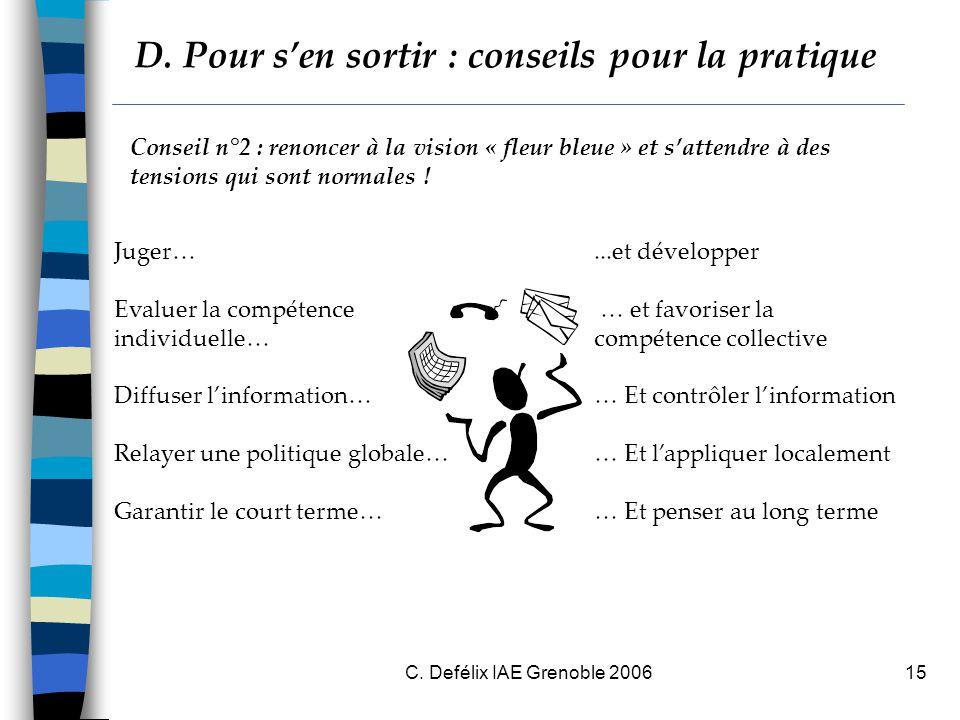 C. Defélix IAE Grenoble 200615 Conseil n°2 : renoncer à la vision « fleur bleue » et s'attendre à des tensions qui sont normales ! Juger…...et dévelop