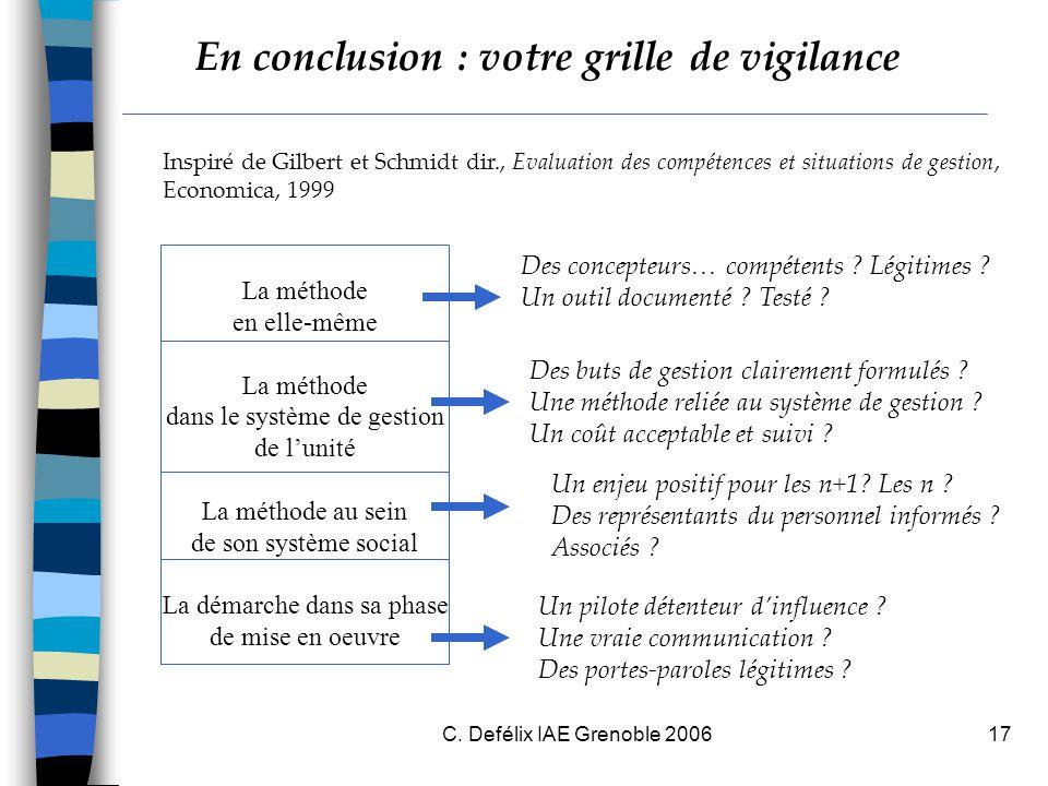 C. Defélix IAE Grenoble 200617 En conclusion : votre grille de vigilance La méthode en elle-même La méthode dans le système de gestion de l'unité La m