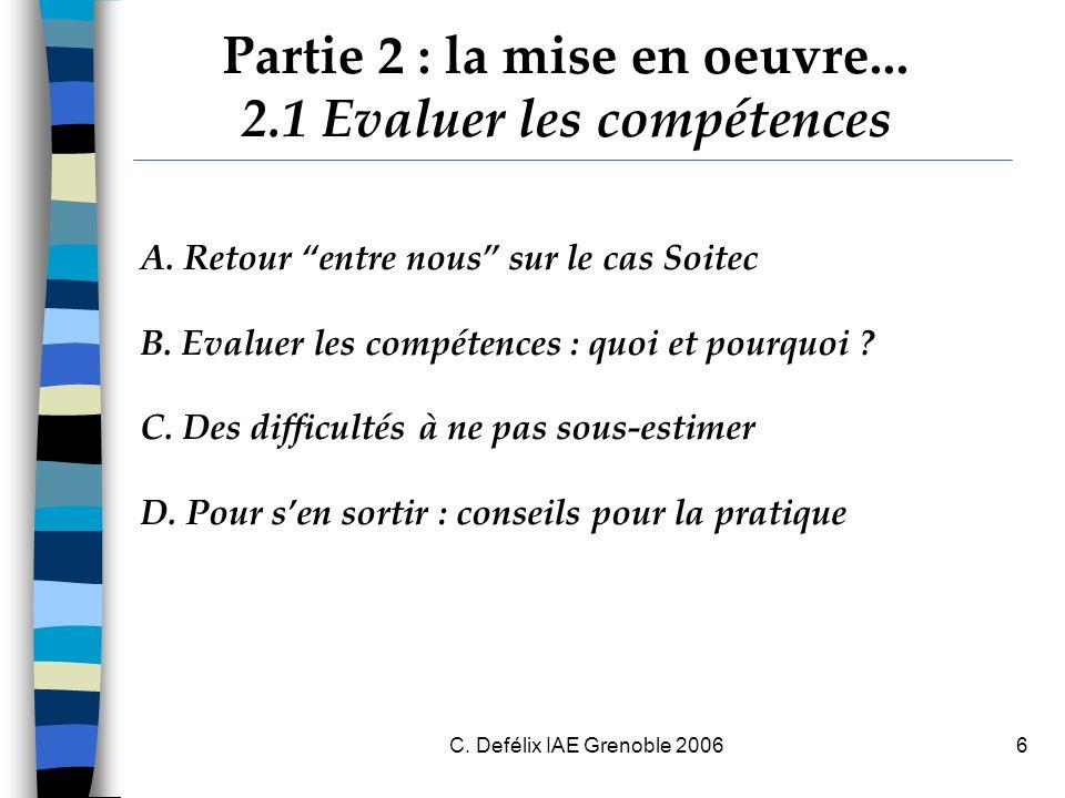 C.Defélix IAE Grenoble 20067 A. Retour entre nous sur le cas Soitec  Réactions, étonnements .