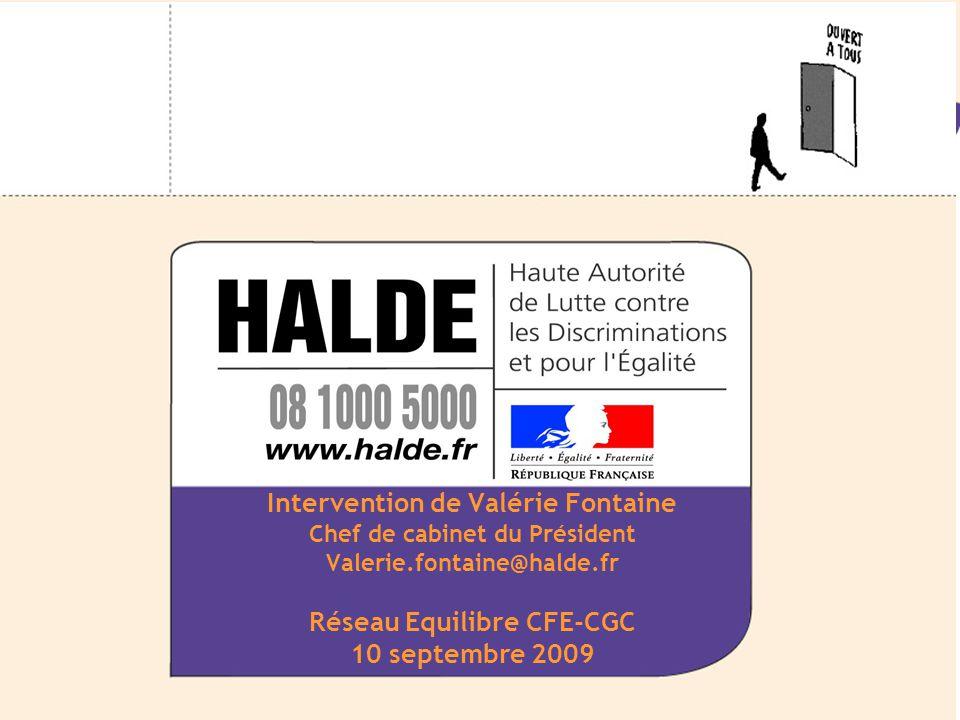 Collège 29 septembre 2008 Promotion de l'égalité Équipe Emploi Intervention de Valérie Fontaine Chef de cabinet du Président Valerie.fontaine@halde.fr