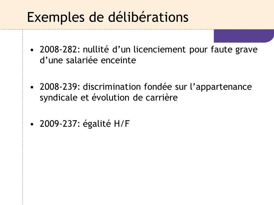 Exemples de délibérations 2008-282: nullité d'un licenciement pour faute grave d'une salariée enceinte 2008-239: discrimination fondée sur l'appartena