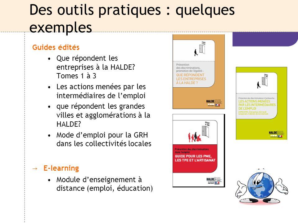 Des outils pratiques : quelques exemples Guides édités Que répondent les entreprises à la HALDE? Tomes 1 à 3 Les actions menées par les intermédiaires
