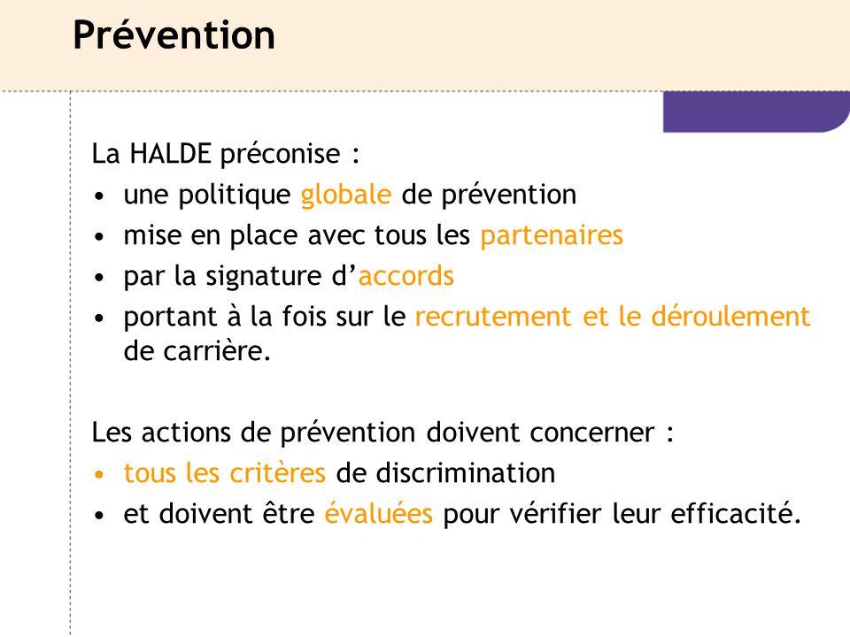 Prévention La HALDE préconise : une politique globale de prévention mise en place avec tous les partenaires par la signature d'accords portant à la fo