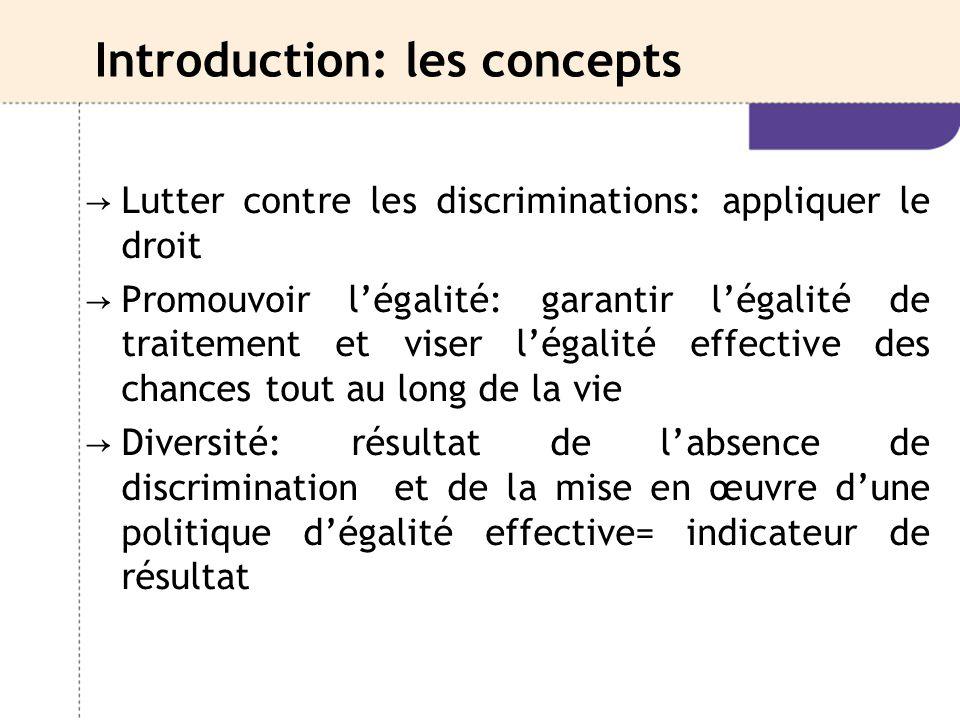 Introduction: les concepts → Lutter contre les discriminations: appliquer le droit → Promouvoir l'égalité: garantir l'égalité de traitement et viser l