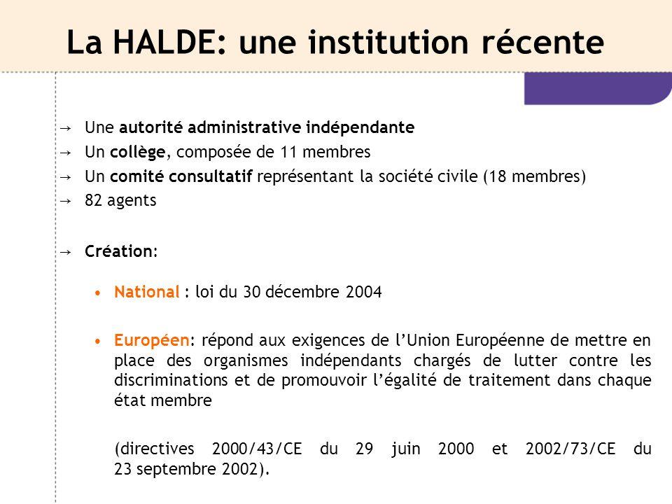 La HALDE: une institution récente → Une autorité administrative indépendante → Un collège, composée de 11 membres → Un comité consultatif représentant
