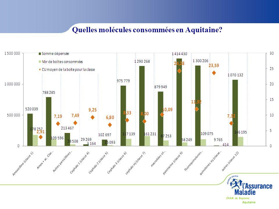 CPAM de Bayonne Quelles molécules consommées en Aquitaine?