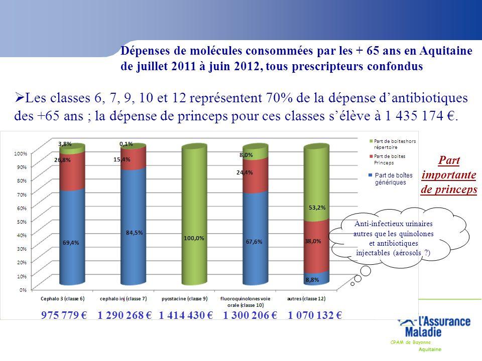 CPAM de Bayonne Dépenses de molécules consommées par les + 65 ans en Aquitaine de juillet 2011 à juin 2012, tous prescripteurs confondus  Les classes