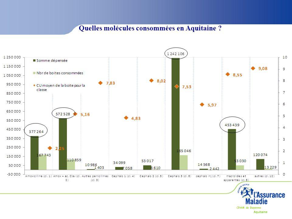CPAM de Bayonne Quelles molécules consommées en Aquitaine ?