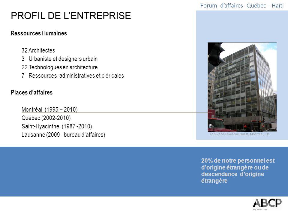 Forum d'affaires Québec - Haïti EXPÉRIENCE EN HAÏTI ABCP compte parmi ses collaborateurs seniors des architectes de grandes expériences qui ont contribué à plusieurs projets en Haïti.