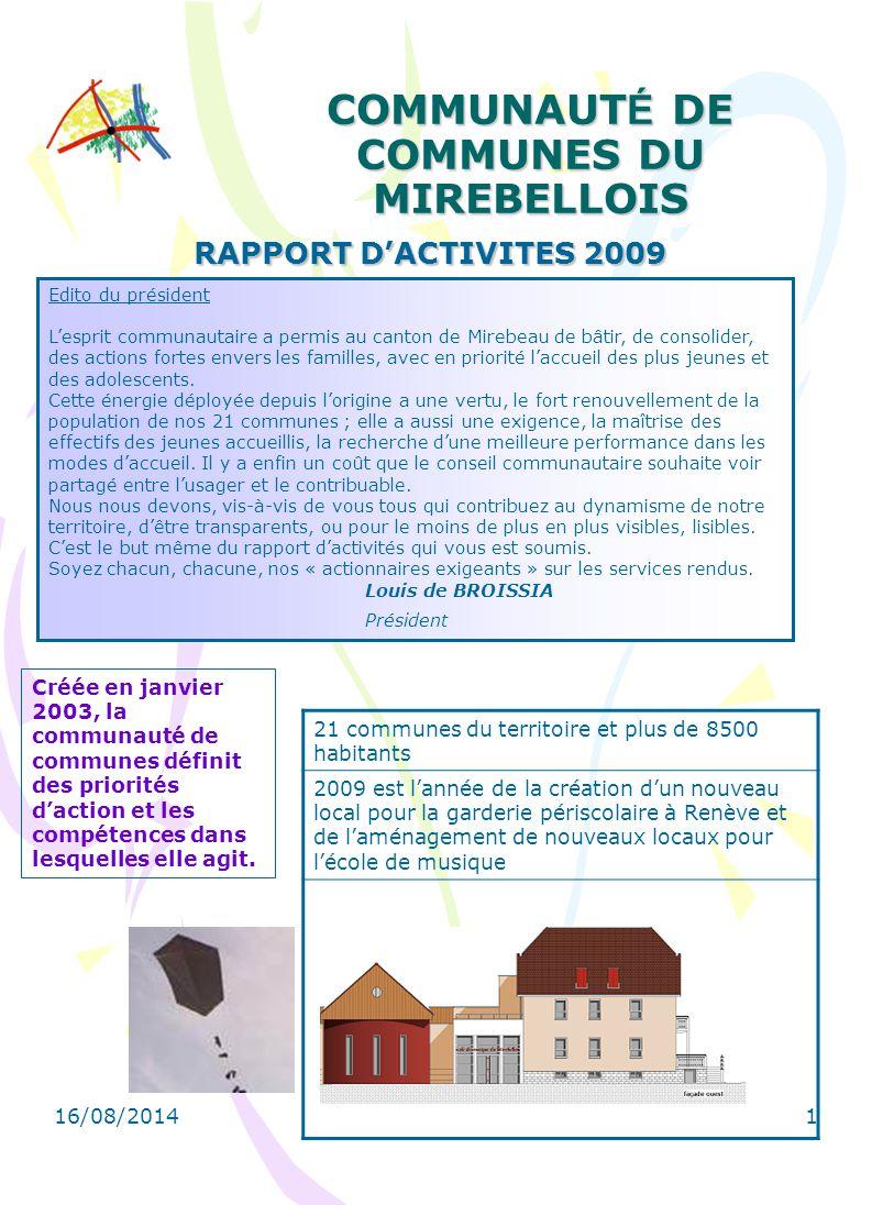 16/08/2014 1 COMMUNAUT É DE COMMUNES DU MIREBELLOIS RAPPORT D'ACTIVITES 2009 Créée en janvier 2003, la communauté de communes définit des priorités d'action et les compétences dans lesquelles elle agit.