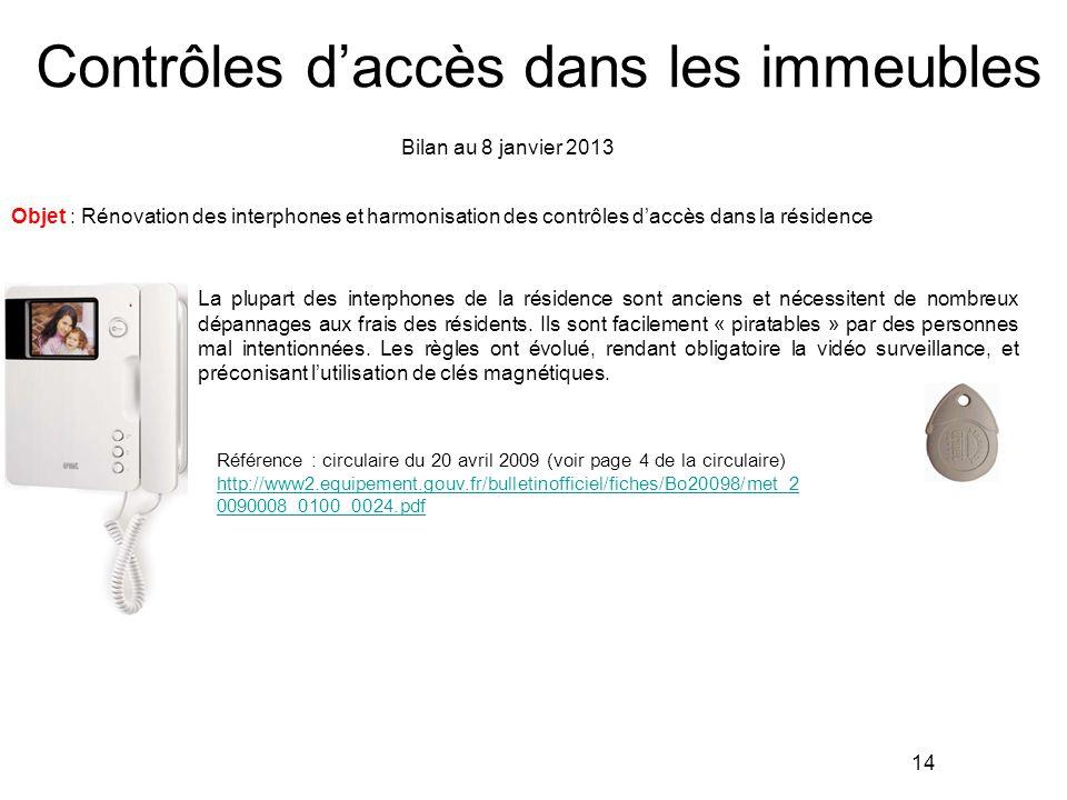 Contrôles d'accès dans les immeubles Objet : Rénovation des interphones et harmonisation des contrôles d'accès dans la résidence Bilan au 8 janvier 20