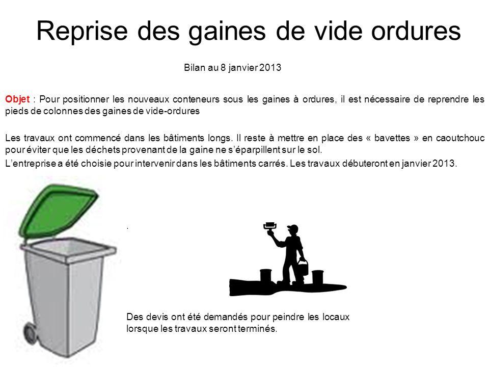 Reprise des gaines de vide ordures Objet : Pour positionner les nouveaux conteneurs sous les gaines à ordures, il est nécessaire de reprendre les pied
