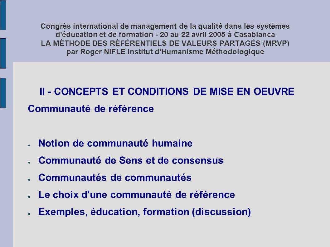 Congrès international de management de la qualité dans les systèmes d'éducation et de formation - 20 au 22 avril 2005 à Casablanca LA MÉTHODE DES RÉFÉ