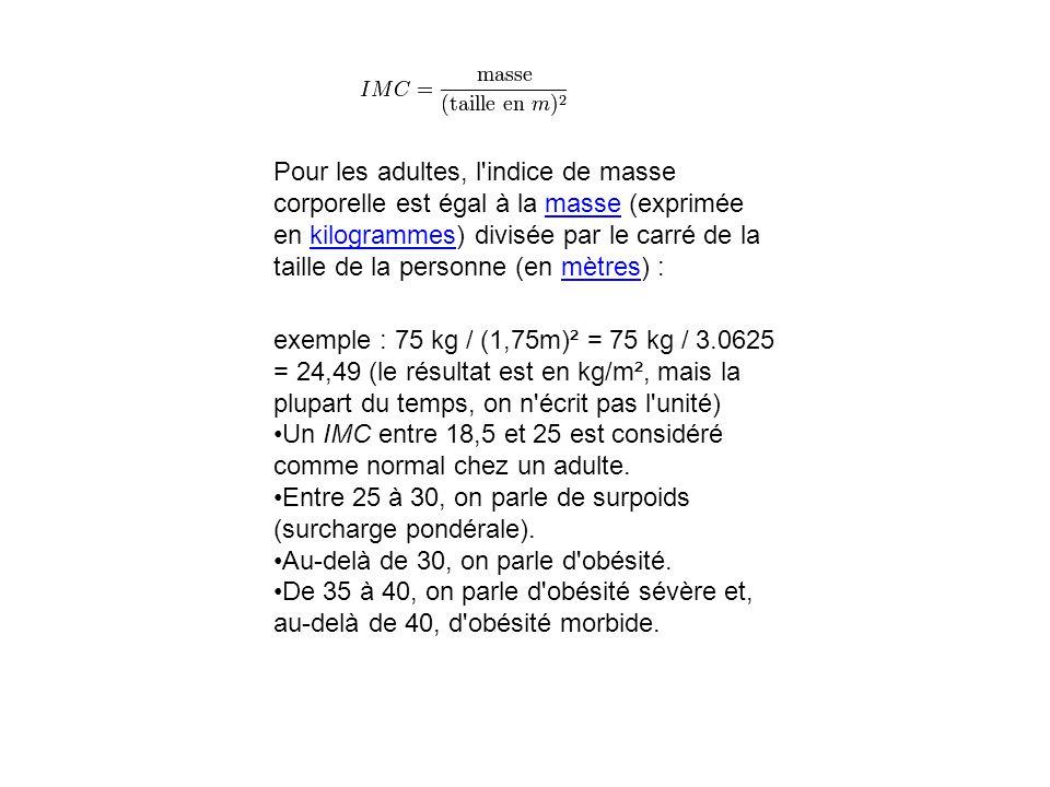 Pour les adultes, l'indice de masse corporelle est égal à la masse (exprimée en kilogrammes) divisée par le carré de la taille de la personne (en mètr