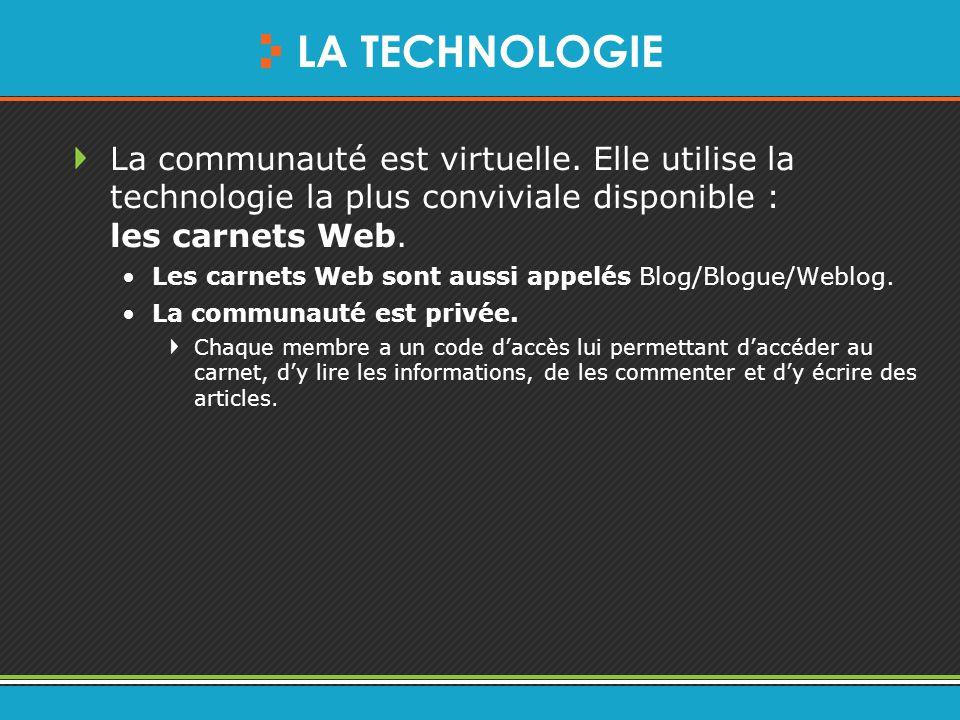 LA TECHNOLOGIE La communauté est virtuelle.