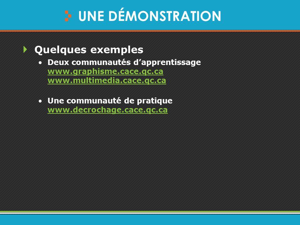 UNE DÉMONSTRATION Quelques exemples Deux communautés d'apprentissage www.graphisme.cace.qc.ca www.multimedia.cace.qc.ca www.graphisme.cace.qc.ca www.multimedia.cace.qc.ca Une communauté de pratique www.decrochage.cace.qc.ca www.decrochage.cace.qc.ca