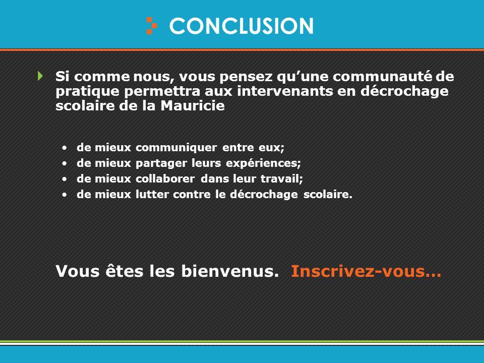 CONCLUSION Si comme nous, vous pensez qu'une communauté de pratique permettra aux intervenants en décrochage scolaire de la Mauricie de mieux communiq