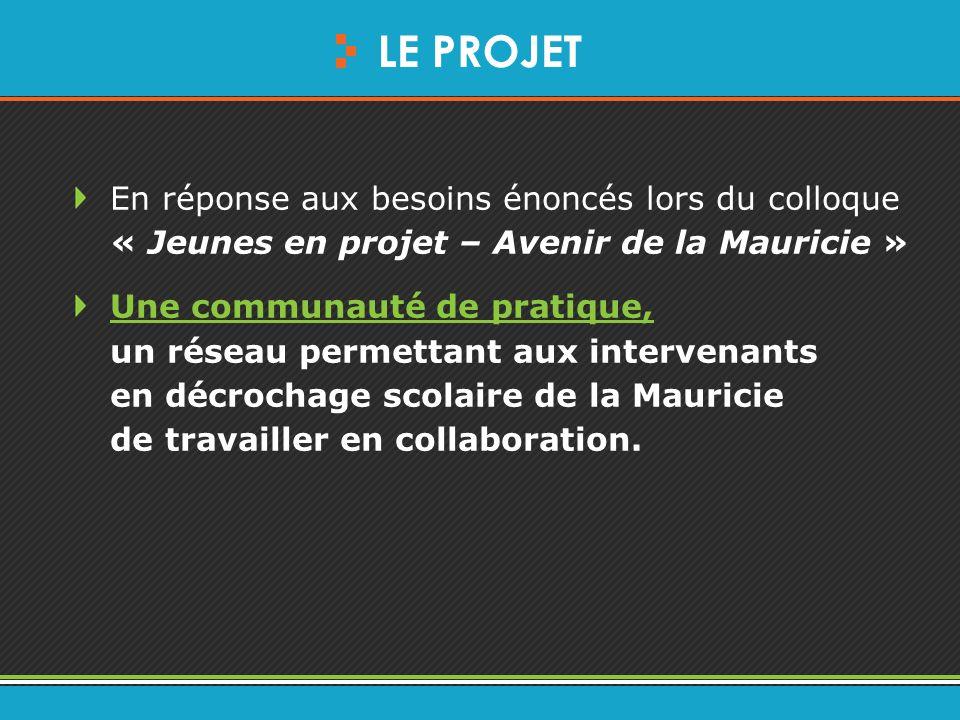 LE PROJET En réponse aux besoins énoncés lors du colloque « Jeunes en projet – Avenir de la Mauricie » Une communauté de pratique, Une communauté de pratique, un réseau permettant aux intervenants en décrochage scolaire de la Mauricie de travailler en collaboration.